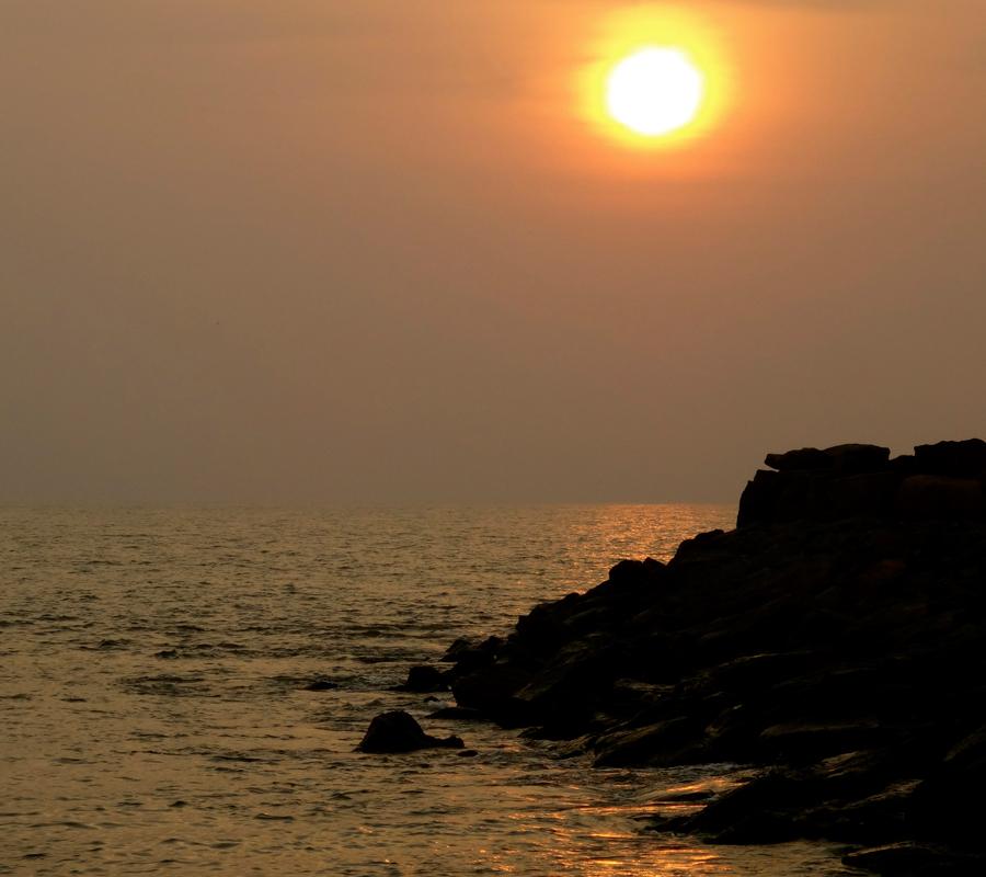 Coucher de soleil sur la plage de Marari