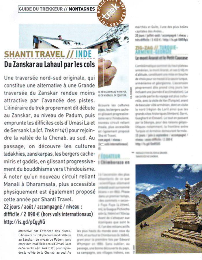 Shanti Travel pour Trek Mag