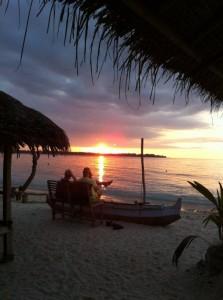 Coucher de soleil, côte ouest de Gili Air
