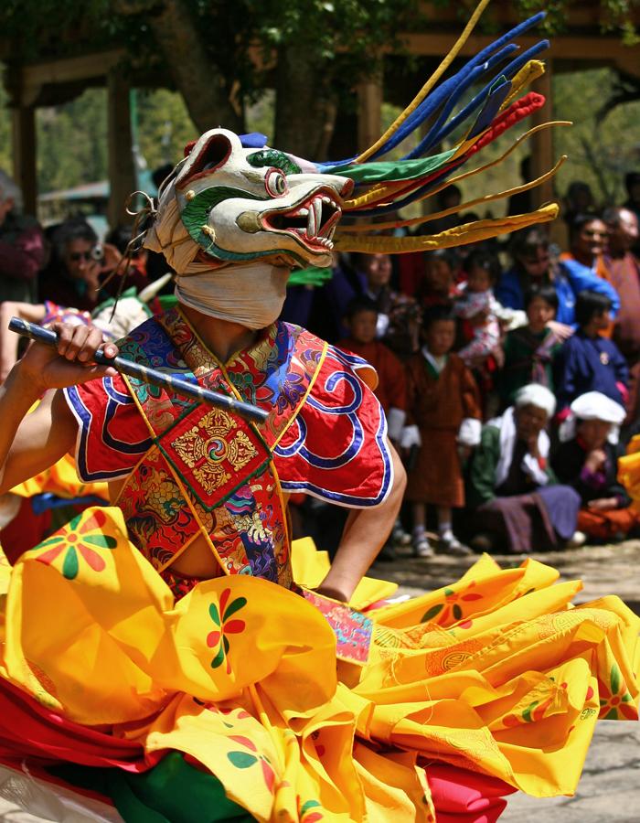 Dragon lors d'un festival au Bhoutan