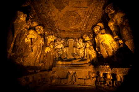 Maharashtra Ancient cave temple in Ellora