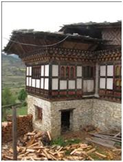 Maison traditionnelle au Bhoutan