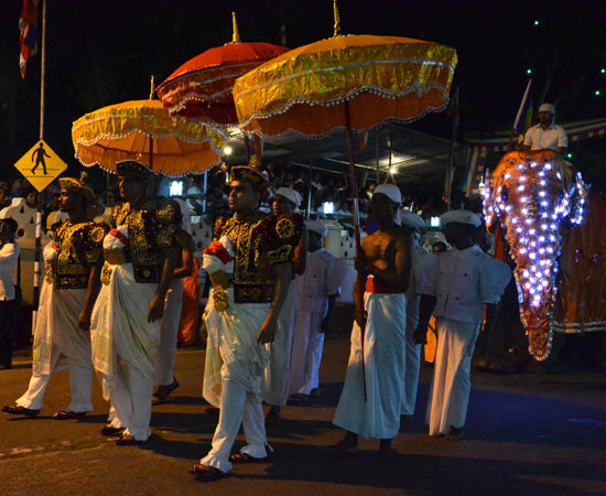 Sous les ombrelles, les hommes en tenue de cérémonie des nobles de Kandy