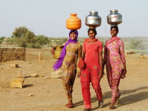 Village Women Fetching Water from Wells