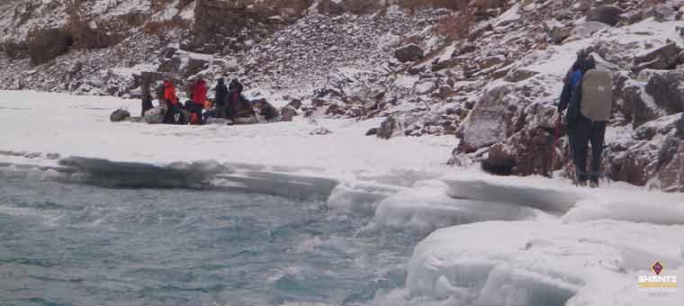 frozen river trekking
