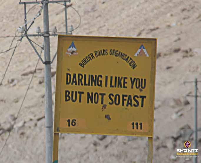 humourous road signs in ladakh