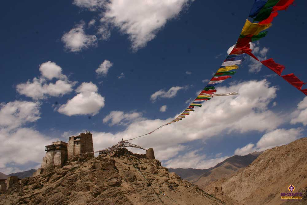 Prayer Flag on top of a monastery in ladakh