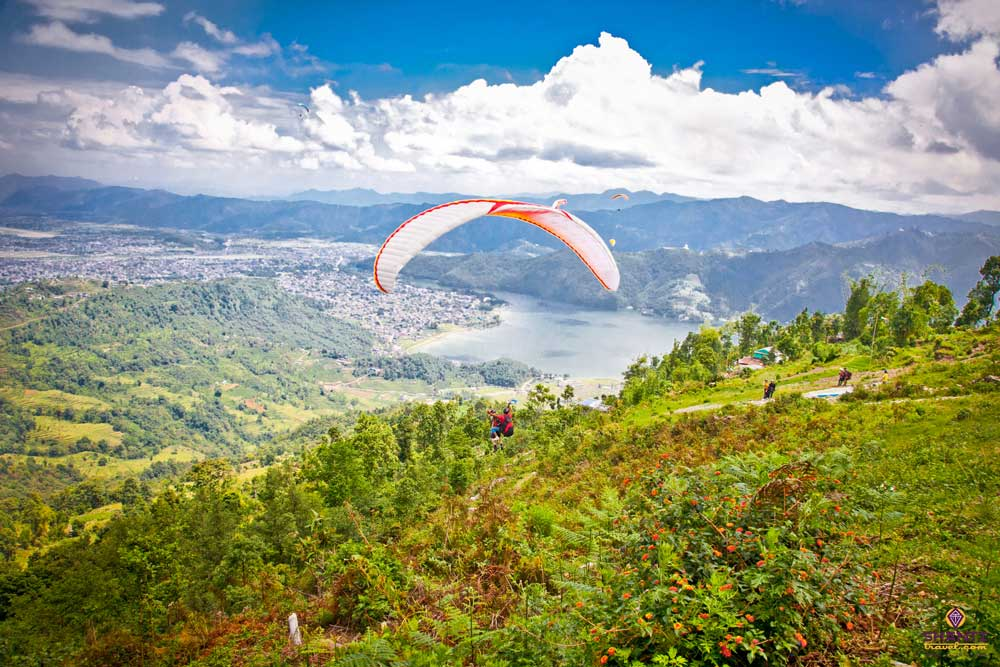 Paragliding over phewa lake in Pokhara