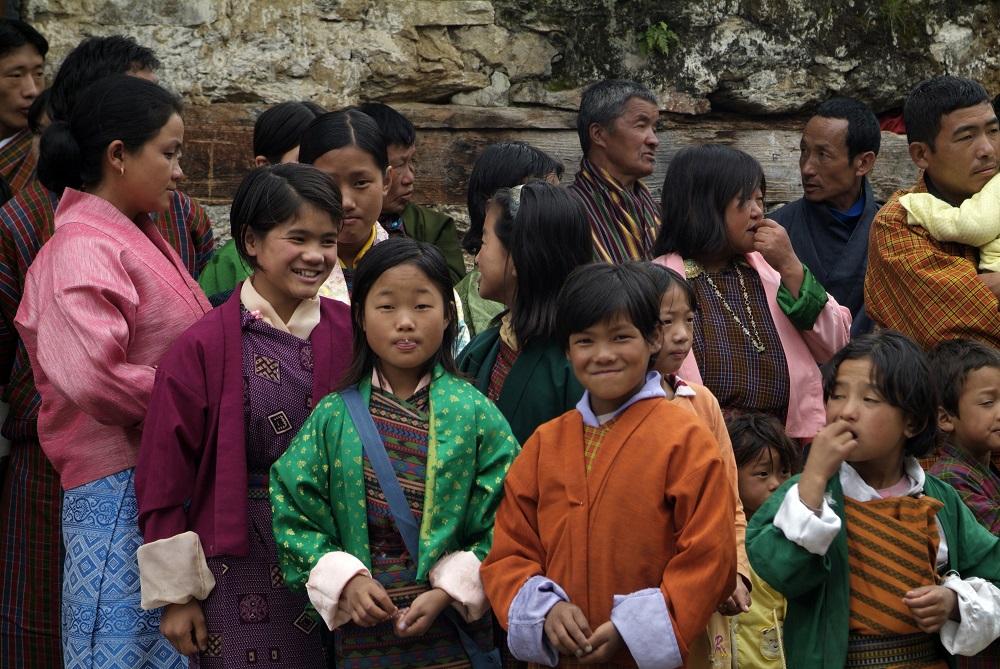 Bhutan Jakar Bhumtang Religious ceremony Spectators