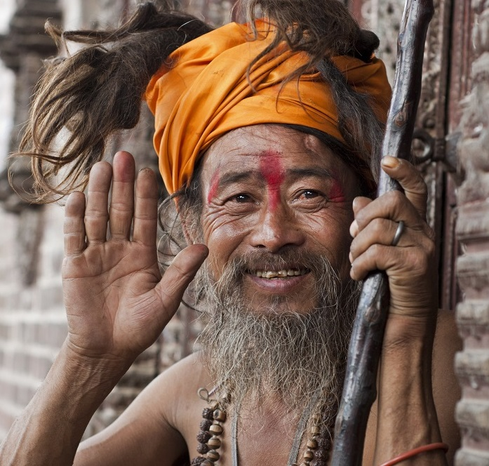 Holy man in Nepal giving blessing